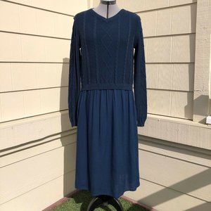 Lilith Cable Knit Lagenlook V-Neck Sweater Dress